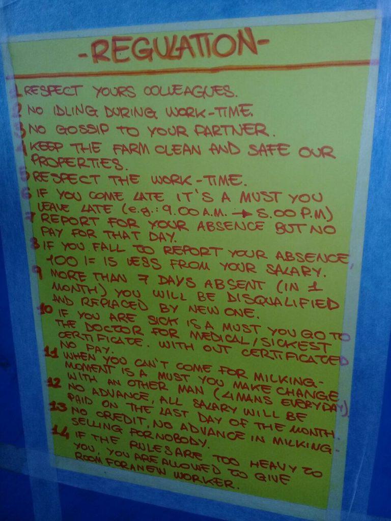Englische Regeln für das Verhalten der Arbeiter auf dem Bauernhof.